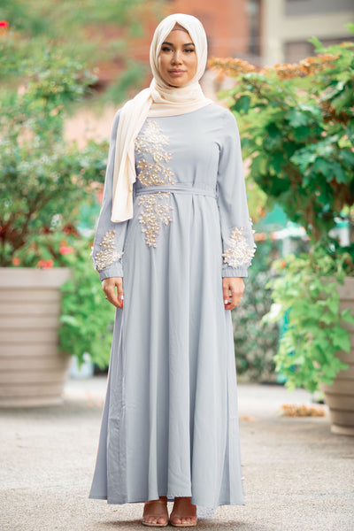 Dove Gray Pearl Long Sleeve Evening Gown