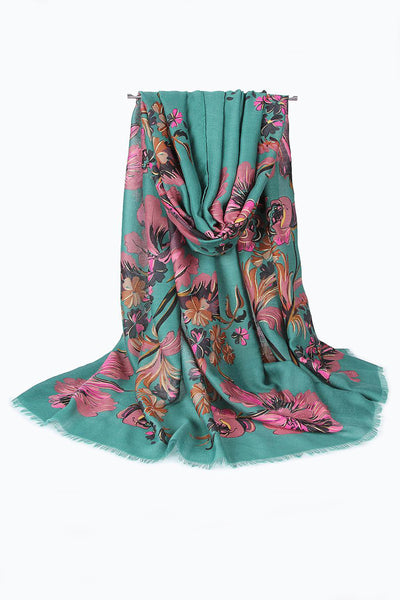 Pink on Teal Floral Print Hijab