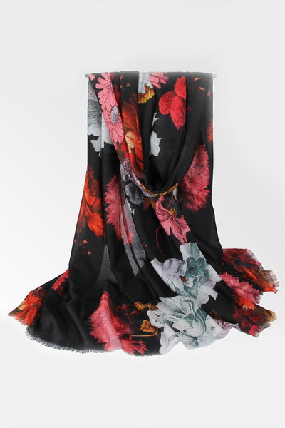 Black Floral Cotton Print Hijab