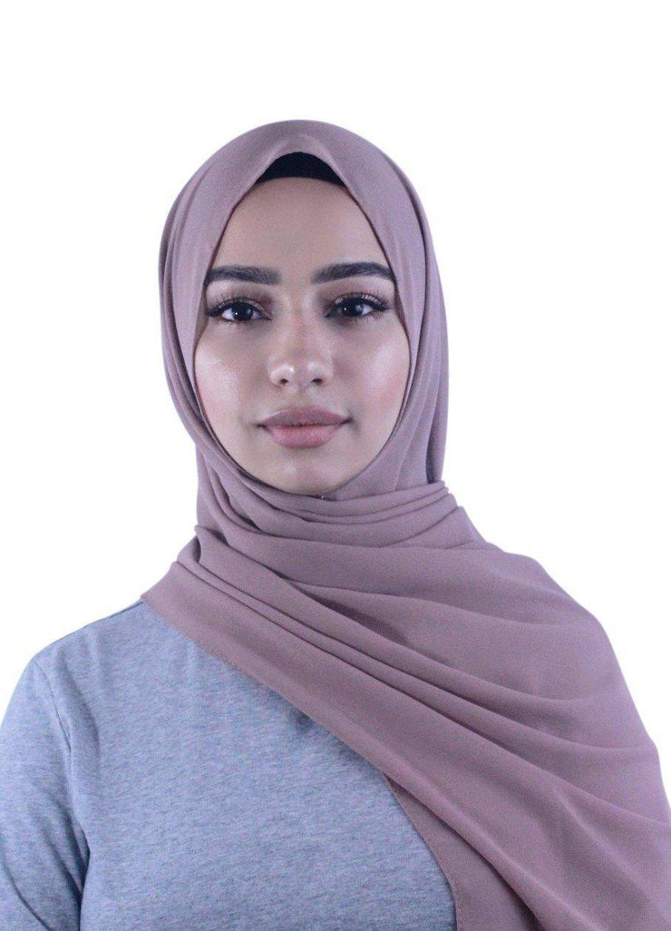 2018 New Arrival Collection Heavy Chiffon Pearl Hijab Solid Dark Blush Colour