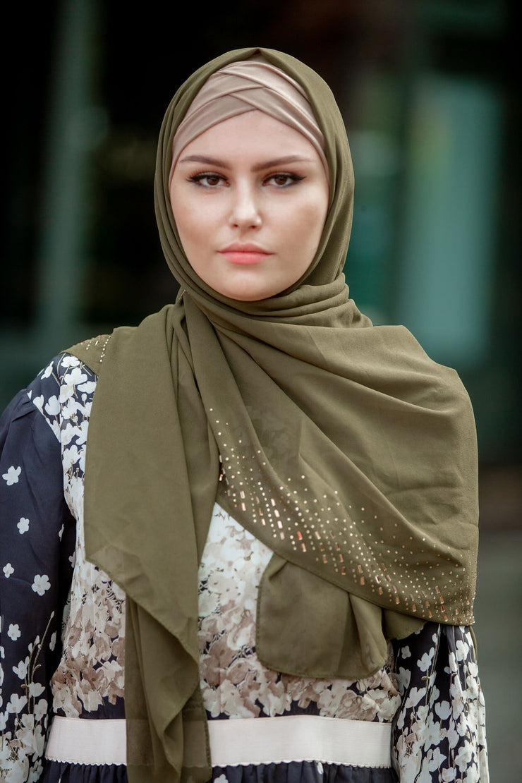 Rhinestone Chiffon Hijab (More colors available)