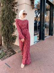 Maroon Daisy Button Down Maxi Dress