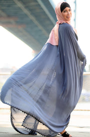 Gray Pearl and Lace Trim Open Front Abaya Caftan