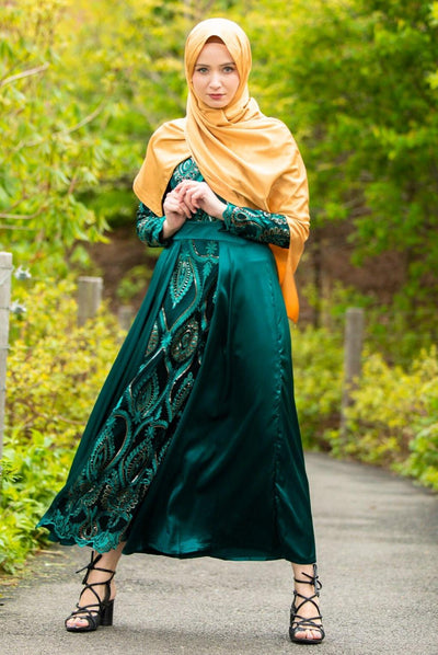Hunter Green Beaded Long Sleeve Evening Gown-CLEARANCE