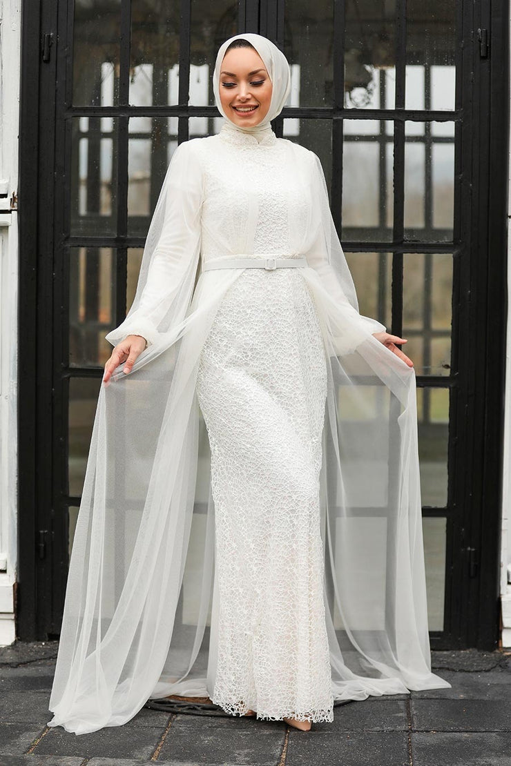 Ivory Lace with Chiffon Overlay Gown