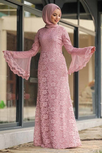 Hayat Lace Bell Sleeves Maxi Gown