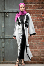 Grey Lace Appliqué Open Front Abaya-CLEARANCE