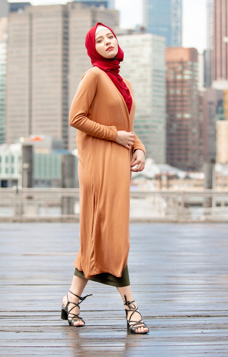 Camel Ribbed Maxi Cotton Cardigan-Clearance