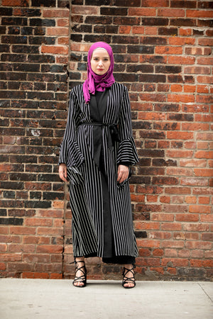 Black Striped Cascading Ruffle Open Front Abaya