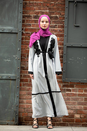 Grey Lace Appliqué Open Front Abaya