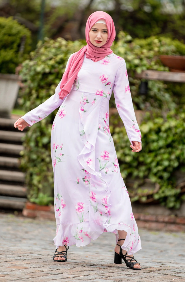 Lavender Ruffle Floral Maxi Dress With Sleeves-Clearance