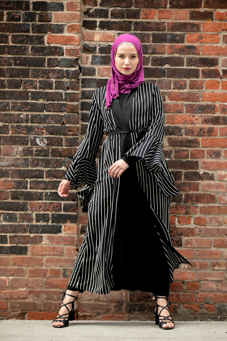 Black Striped Cascading Ruffle Open Front Abaya-CLEARANCE