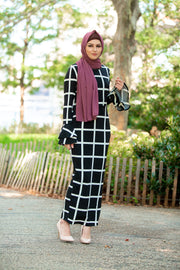 Bold Lines Ruffle Sleeve Maxi Dress