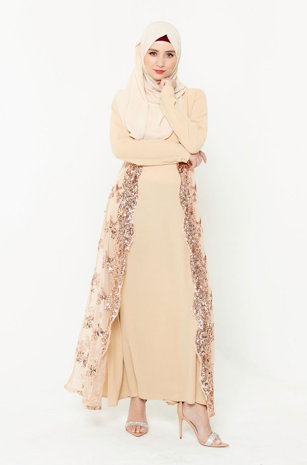Beige Love Sequin Long Sleeve Evening Gown-Clearance