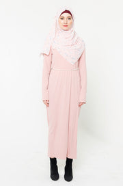 Blush Ribbed Long Sleeve Maxi Dress