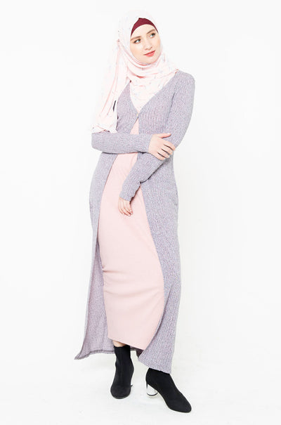 Heather Gray Ribbed Maxi Cardigan-Clearance