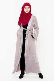 Gray-Mauve Metallic Pleated Trim Open Front Abaya-CLEARANCE
