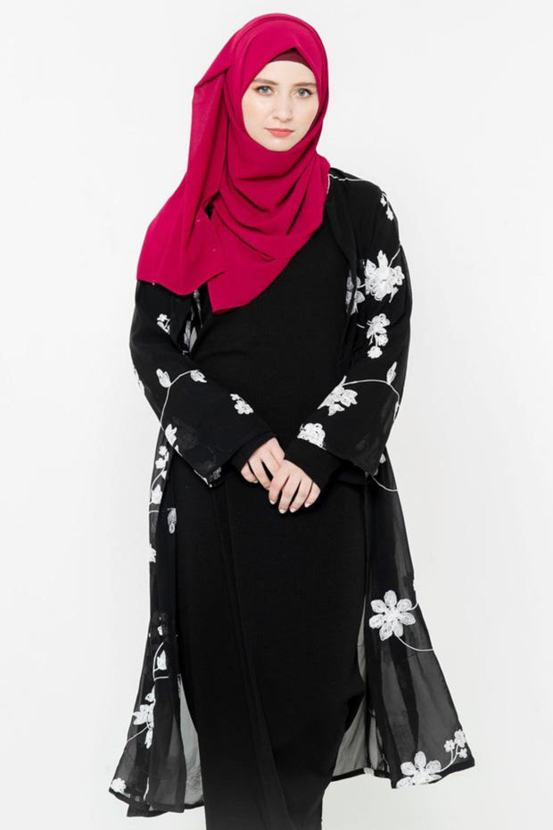 Black and White Embroidered Sheer Open Front Abaya-CLEARANCE
