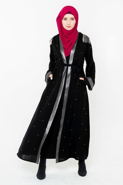 Black and Silver Pearl Open Front Abaya-CLEARANCE