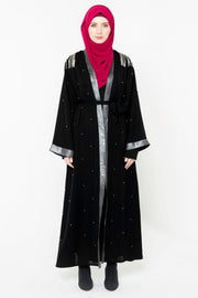 Black and Silver Pearl Open Front Abaya-PREORDER