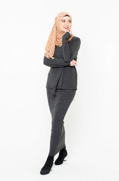 Charcoal Sweater & Skirt Set-CLEARANCE