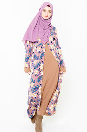 Tropical Pastels Floral Non-Sheer Maxi Cardigan-Clearance