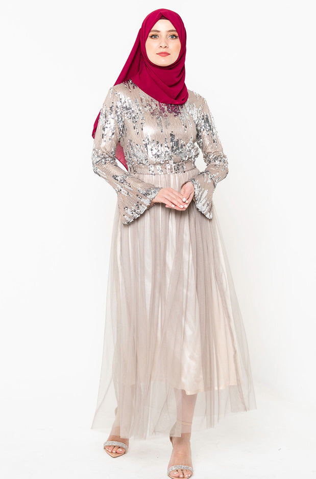 Emma Sequin Tulle Long Sleeve Evening Gown-CLEARANCE