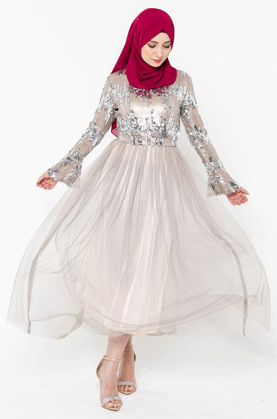Emma Sequin Tulle Long Sleeve Evening Gown