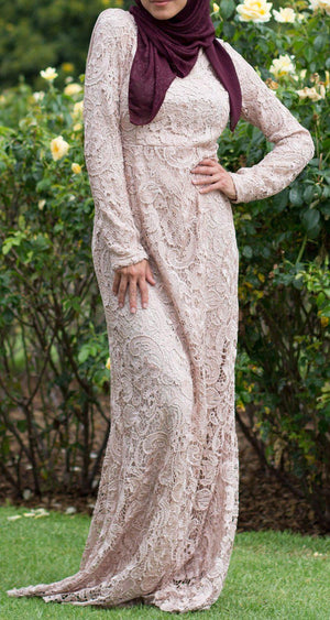 Noor Lace Long Sleeve Evening Gown - Abaya, Hijabs, Jilbabs, on sale now at UrbanModesty.com