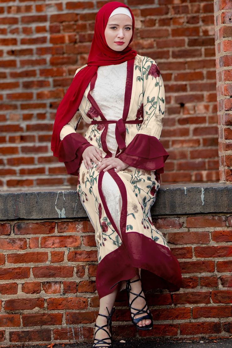 Maroon Floral Embroidery Ruffle Sleeve Open Front Abaya