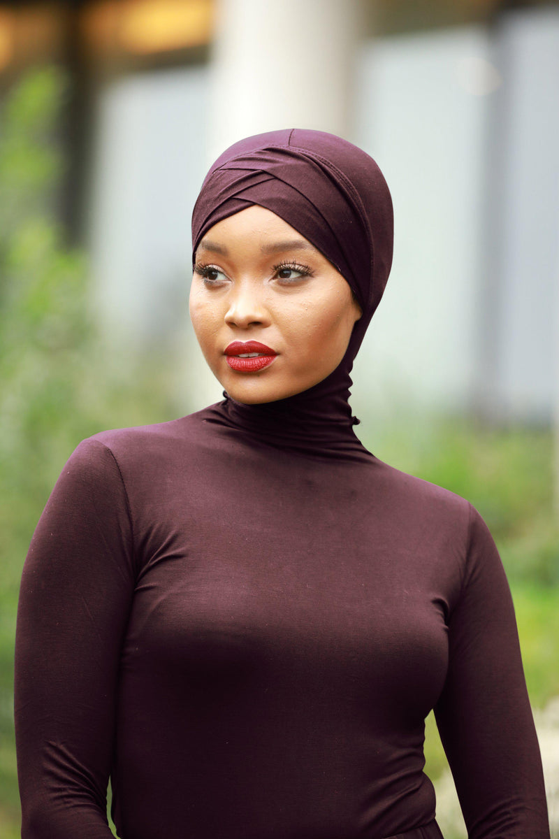Brown Criss-Cross Hijab UnderScarf