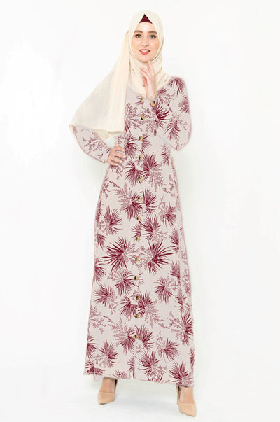 Stardust Taupe & Maroon Floral Button Down Maxi Dress