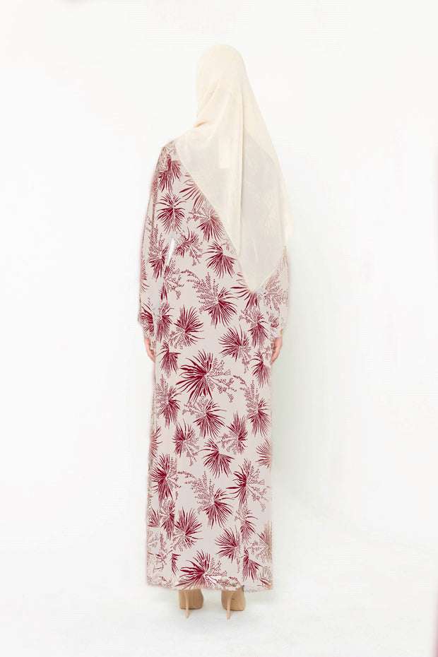 Stardust Taupe & Maroon Floral Button Down Maxi Dress-CLEARANCE