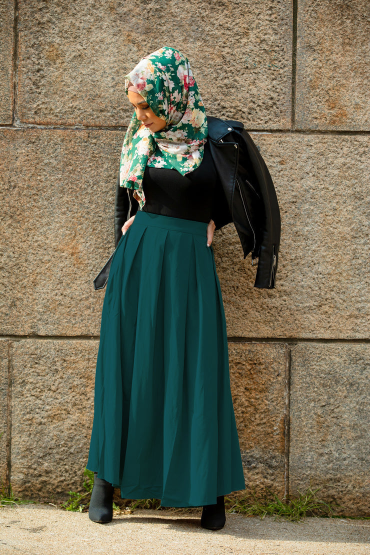 Teal High Waisted Lattice Maxi Skirt-CLEARANCE