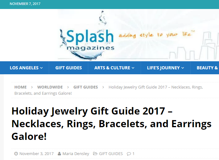 Splash Magazine Holiday Jewelry Gift Guide Feature