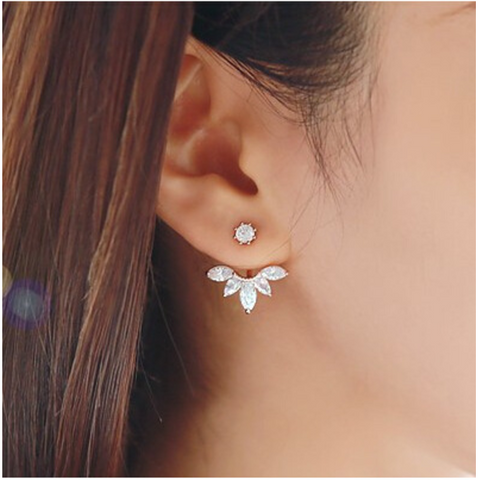 Rhinestone Crystal Ear Jackets - Silver Earrings