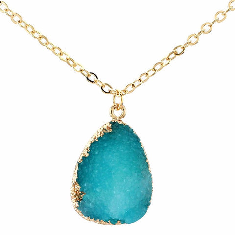Colorful Druzy Stone Gold Necklace