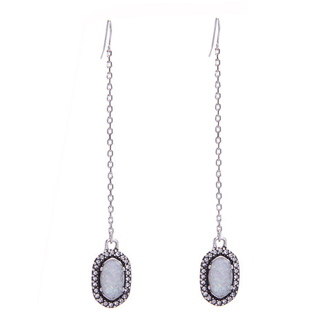 Opal Druzy Chain Drop Earrings