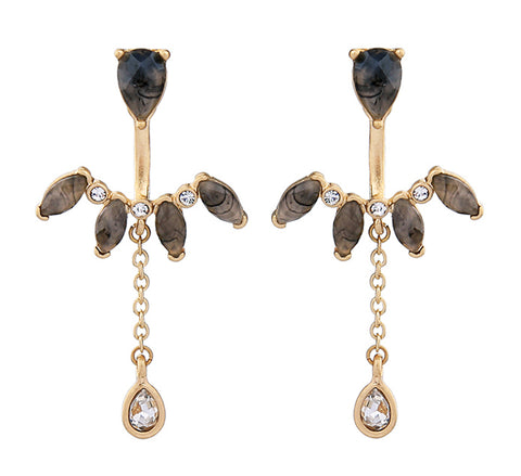 Toffee and Gold Crystal Drop Ear Jacket Earrings