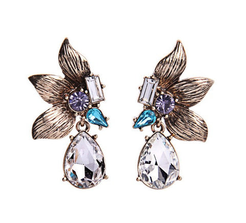 Ella Flower Petal Crystal Statement Earrings