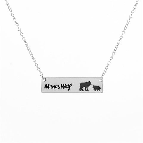 Mama Wolf Bar Necklace - Silver or Gold