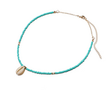 Aqua Seed Bead and Puka Shell Choker Necklace