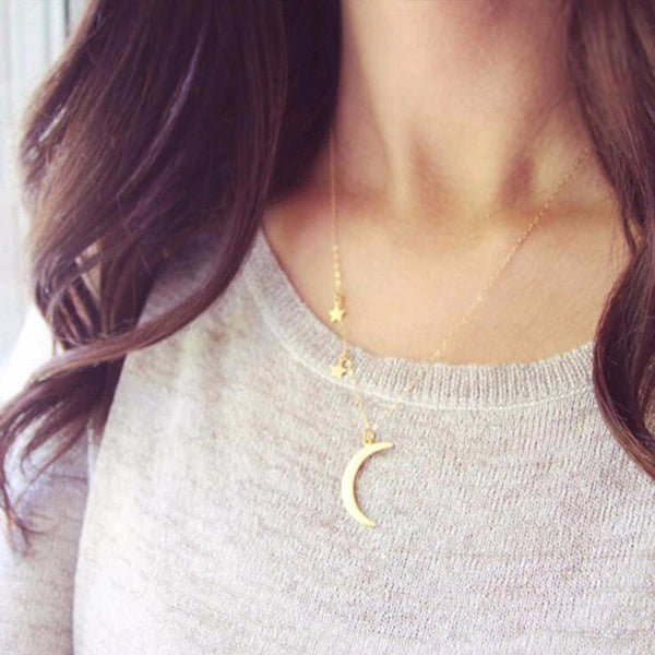 Moon and Stars Asymmetrical Necklace