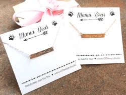 Mama Bear Hand Stamped Bar Necklace