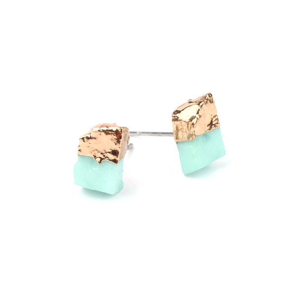 Mint and Gold Faux Stone Stud Earrings