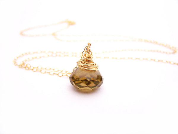 Smoky Topaz Gemstone - Gold Filled Necklace - Simple Jewelry