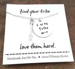I Love My Tribe Necklace - Hand Stamped Jewelry Aluminum & Sterling Silver
