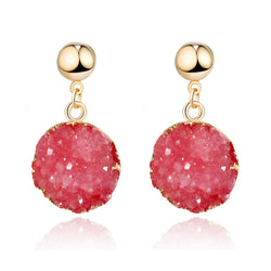 Fuchsia Druzy Drop Earrings