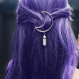 Crescent Moon Crystal Point Hair Clip