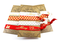 Christmas Holiday Gold Foil Hair Ties Set - Stocking Stuffer